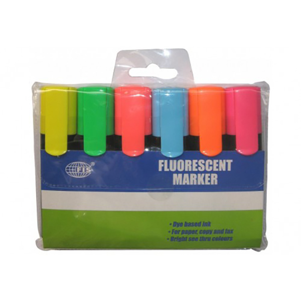 FIS Fluorescent Marker 6 colors - Assorted (pkt/6pcs)