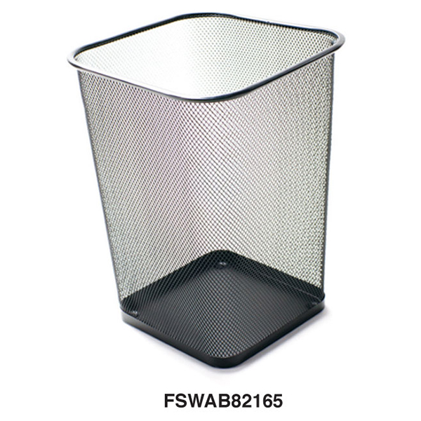 FIS FSWAB82165 Metal Mesh Square Medium Waste Bin 30cm - Black (pc)