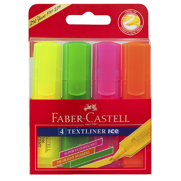 Faber Castell 154806 Super Fluorescent Highlighter - Assorted (pkt/4pcs)