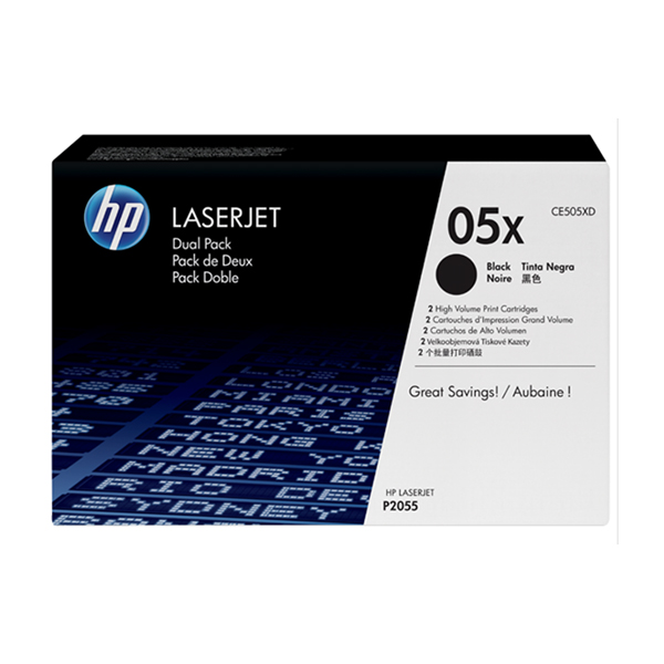 HP 05X Dual Pack High Yield Black Original Laserjet Toner Cartridge (CE505XD)