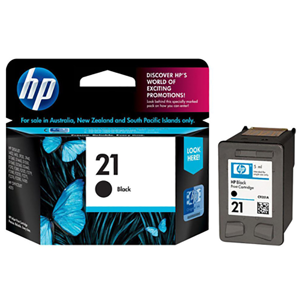 HP Ink 21 Black Ink Cartridge (C9351AE)