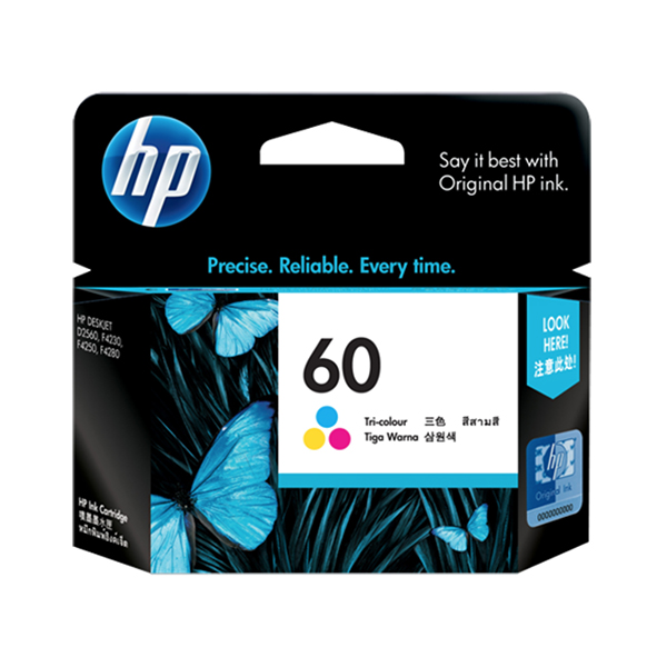 HP Ink 60 Tri-color Ink Cartridge (CC643WN)