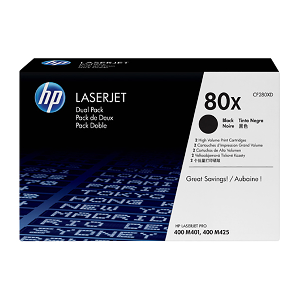 HP 80X Black Dual Pack Laserjet Toner Cartridges (CF280XD)
