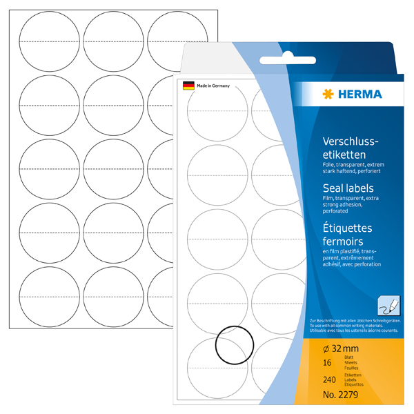 Herma 2279 Round Seal Labels 32mm - Transparent (pkt)
