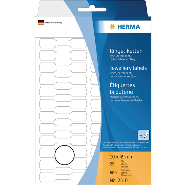 Herma 2510 Multi-purpose Ring Labels 10 x 49 mm - White (pkt)