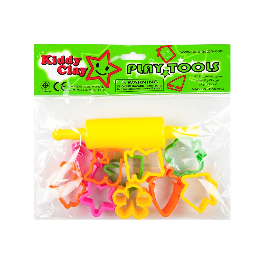 Kiddy Clay 10 Small Plastic Molds and 1 Roller Set