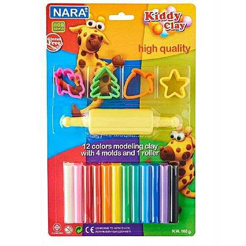Kiddy Clay 12 Colors Clay with 4 Molds and 1 Roller