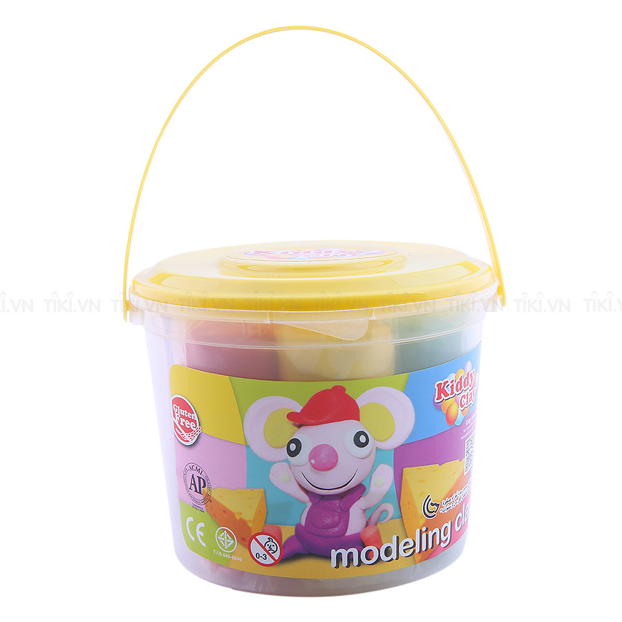 Kiddy Clay Modelling Clay Set of 7 Colors in Bucket with Yellow Lid