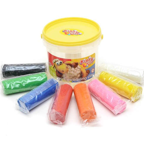 Kiddy Clay Modelling Clay Set of 8 Colors in Bucket with Yellow Lid