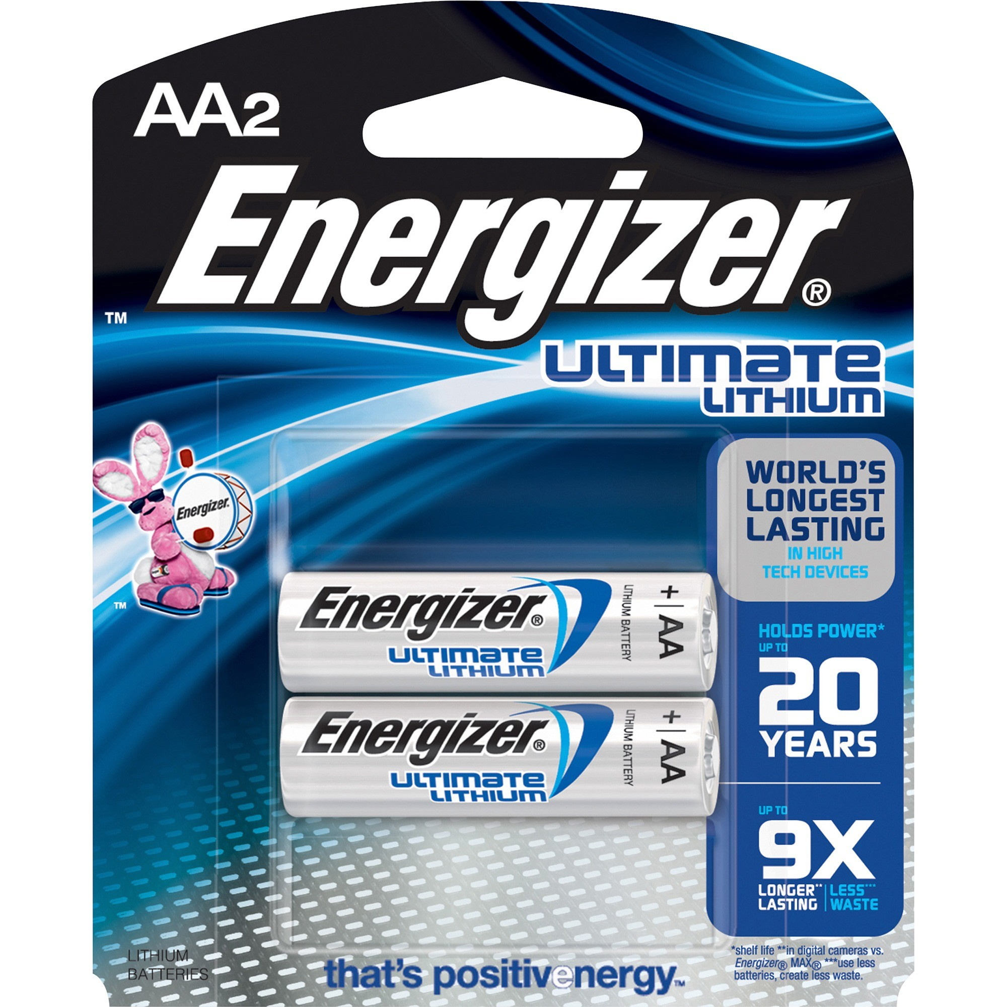 Energizer L91BP2 e2 AA Ultimate Lithium Batteries, 1.5V (pkt/2pc)