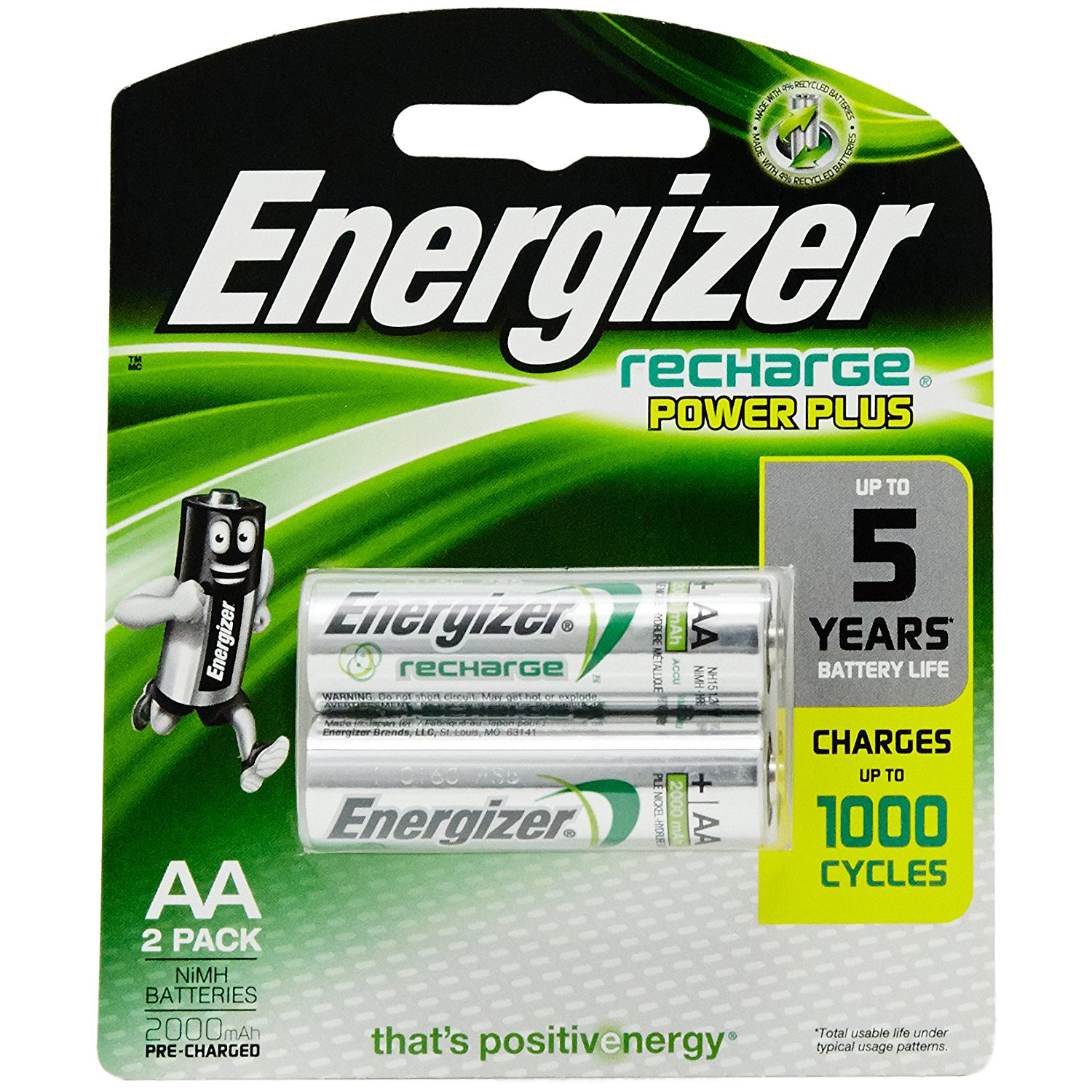 Energizer NH15URP2 NI-MH AA 1500 mah Universal Rechargeable Battery (pkt/2pc)