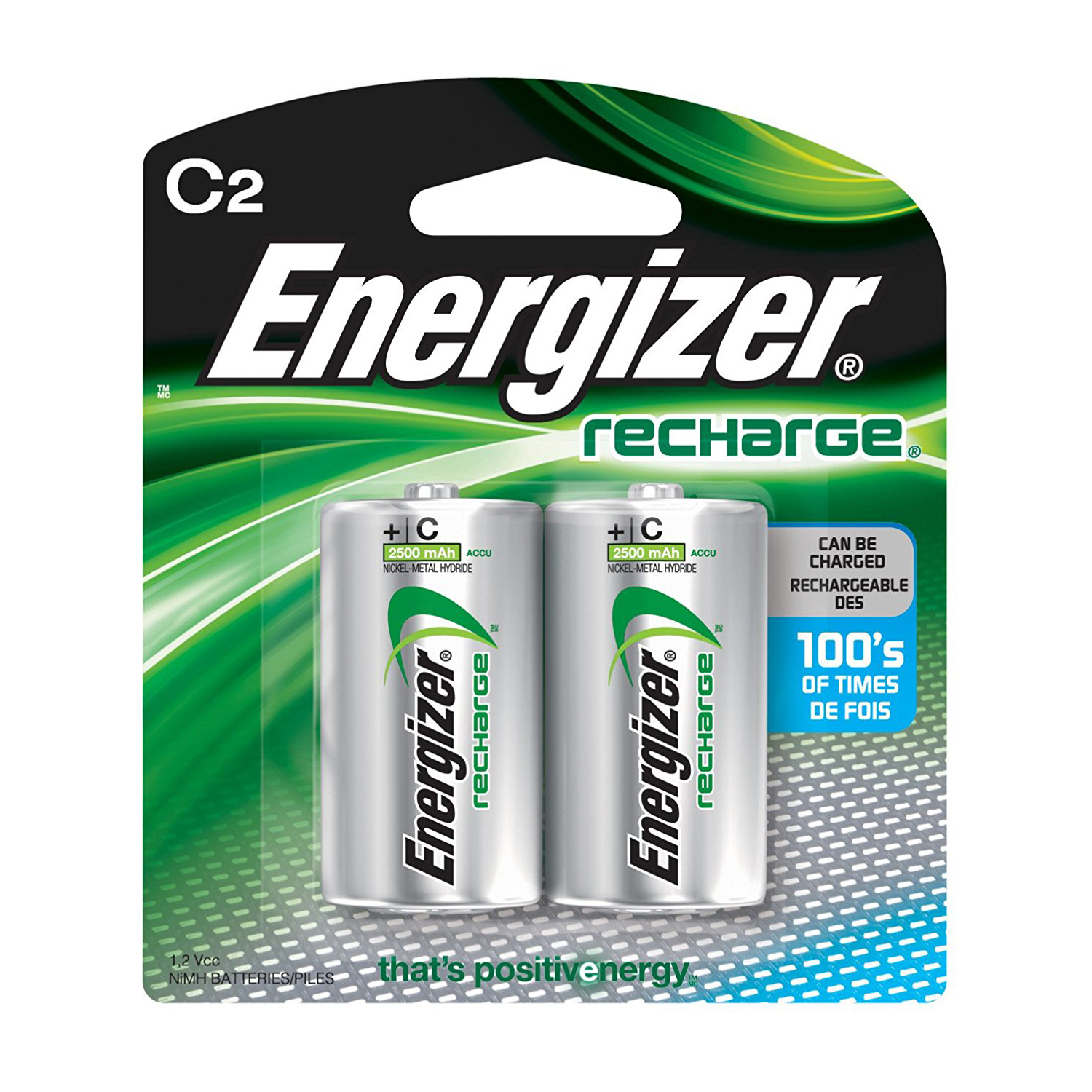 Energizer NH35 NI-MH 2500mAh C Rechargeable Batteries (pkt/2pc)
