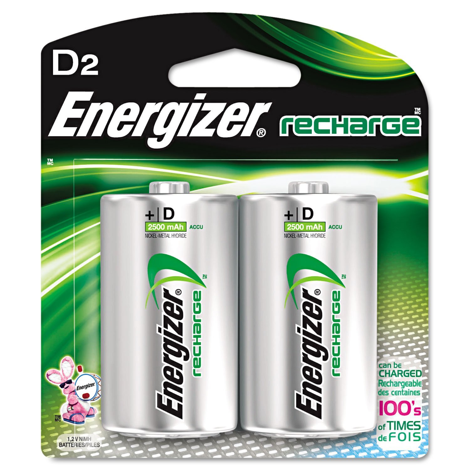 Energizer NH50BP2 NiMH D Rechargeable Battery (pkt/2pc)
