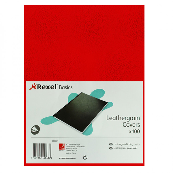 Rexel 2104097 Basic Leather Grain Cover A4 - Red (pkt/100pcs)