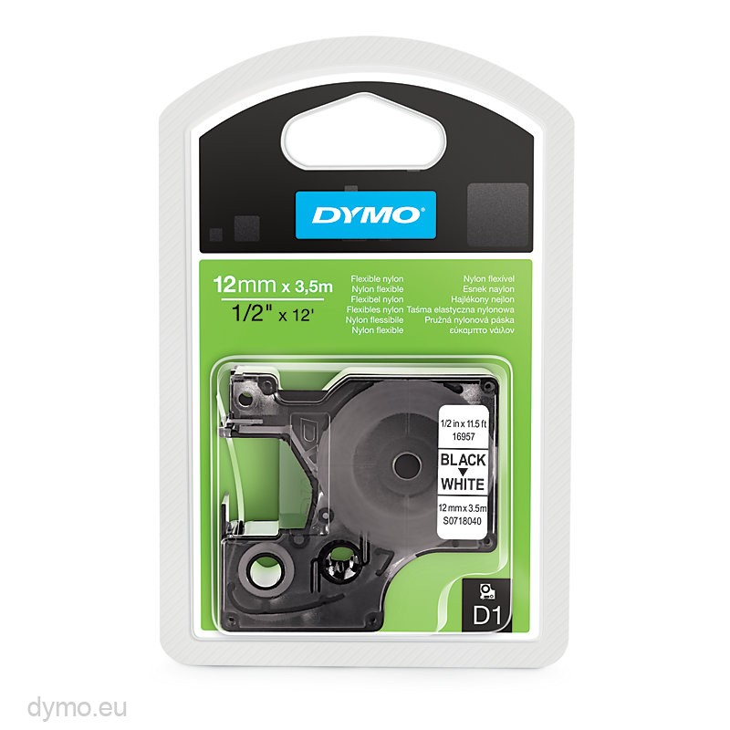 Dymo S0718040 (16957) Permanent Nylon Tape 12mm x 3.5m - Black on White (pc)
