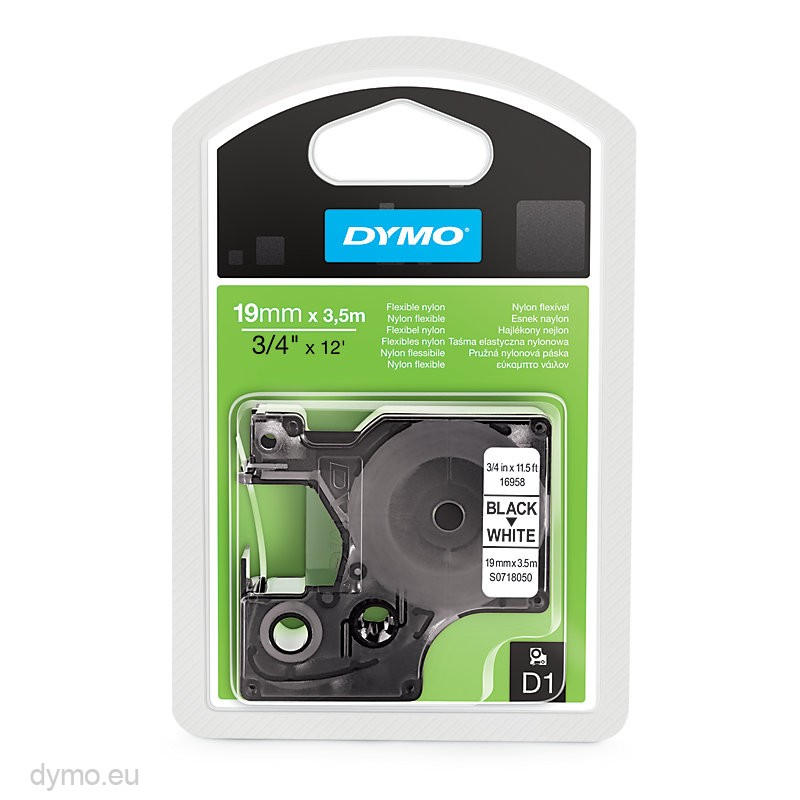 Dymo S0718050 (16958) Nylon Tape 19mm x 3.5m - Black on White (pc)
