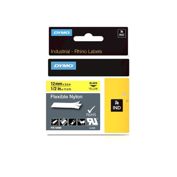 Dymo Rhino S0718080 (18490/18756) Flexible Nylon Tape 12mm x 3.5m - Black on Yellow (pc),