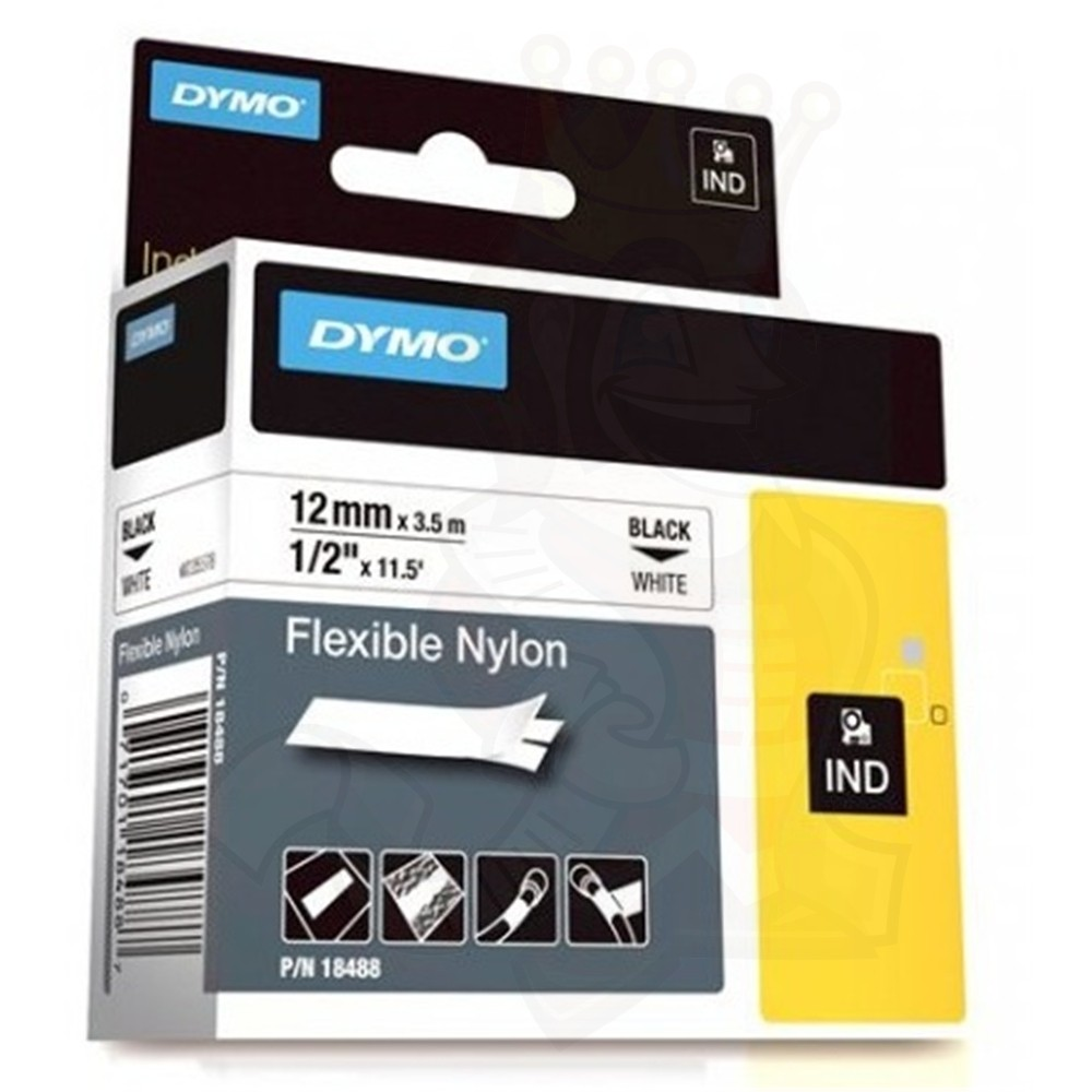 Dymo Rhino S0718100 (18488/18758) Flexible Nylon Tape 12mm x 3.5m - Black on White (pc)