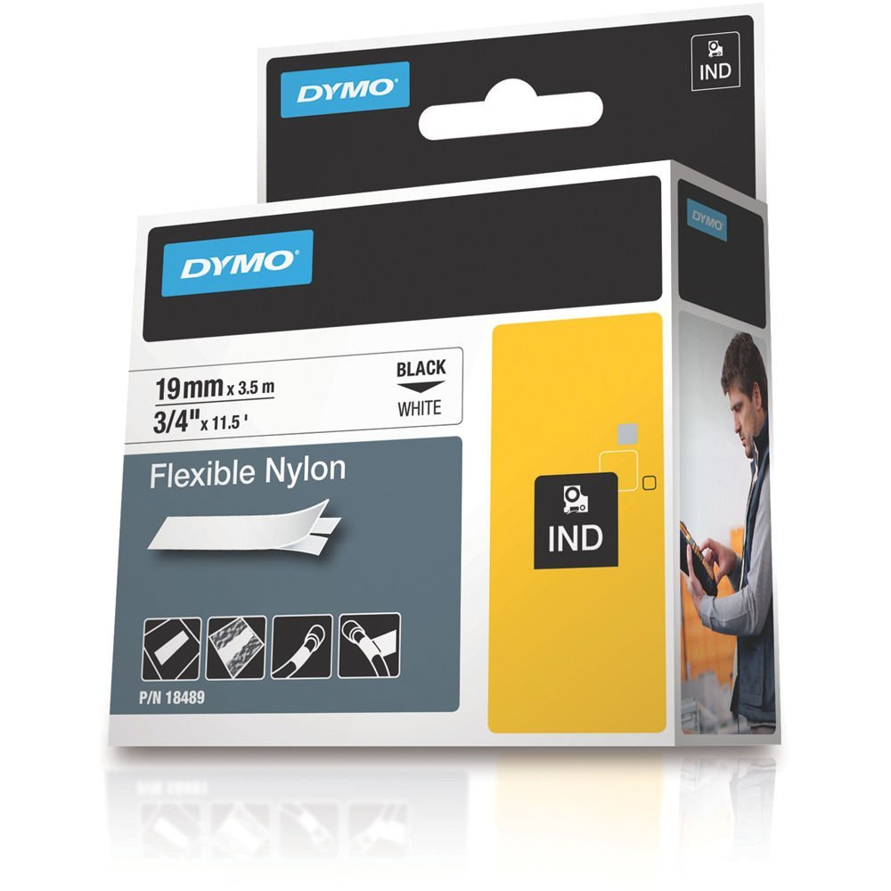 Dymo Rhino S0718120 (18489/18759) Flexible Nylon Tape 19mm x 3.5m - Black on White (pc)