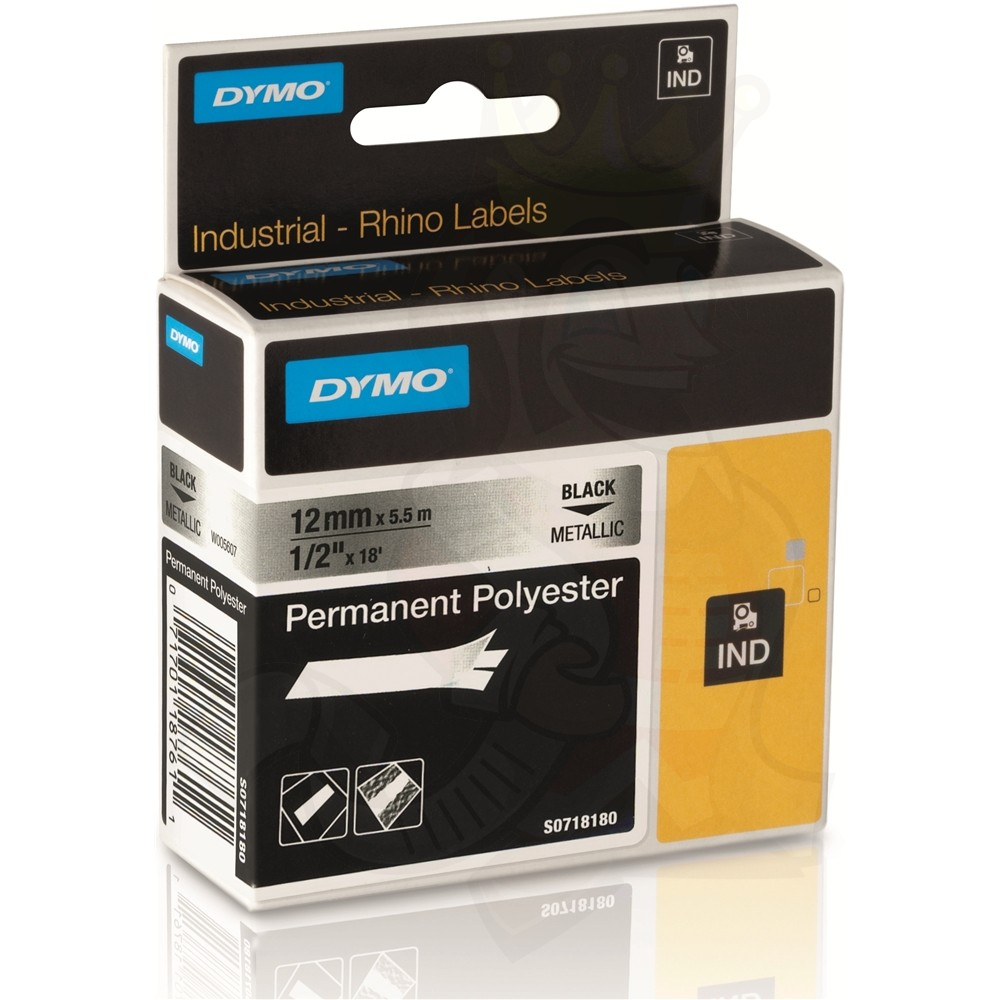 Dymo Rhino S0718180 (18761/18486) Black on Metallic Permanent Polyester Tape - 12mm x 5.5m (pc)