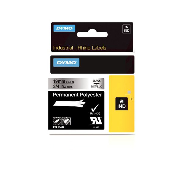 Dymo Rhino S0718200 (18762/18487) Permanent Polyester Tape 19mm x 5.5m - Black on Metallic (pc)