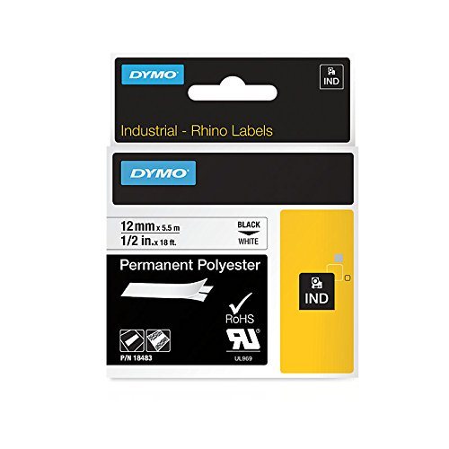 Dymo Rhino S0718210 (18483/18764) Permanent Polyester Tape 12mm x 5.5m - Black on White (pc)