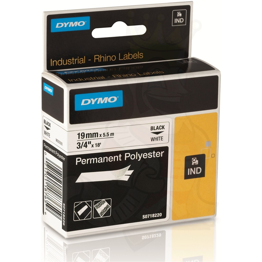 Dymo Rhino S0718220 (18484/18765) Permanent Polyester Tape 19mm x 5.5m - Black on White (pc)