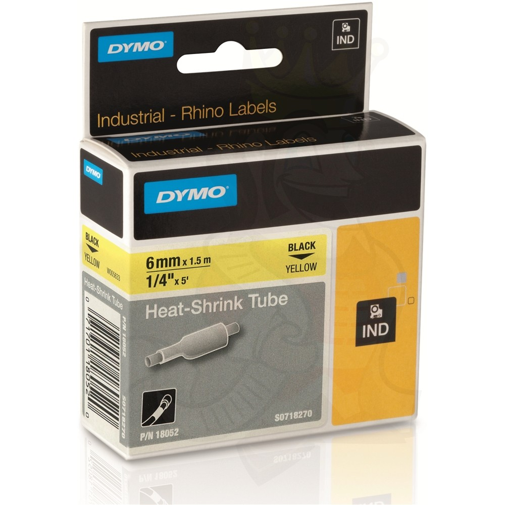 Dymo S0718270 (18052) Rhino Heat-Shrink Cable Label Tube 6mm x 1.5m Cassette - Black on Yellow (pc)