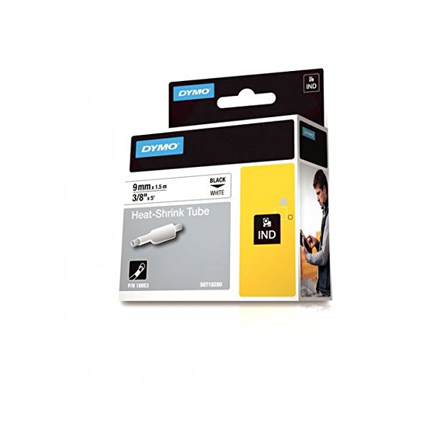 Dymo Rhino S0718280 (18053) Heat-Shrink Cable Label Tube 9mm x 1.5m Cassette - Black on White (pc)