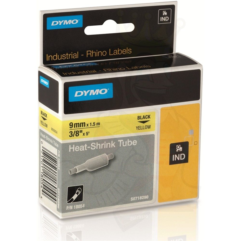 Dymo Rhino S0718290 (18054) Heat-Shrink Cable Label Tube 9 mm x 1.5 m Cassette - Black on Yellow (pc)