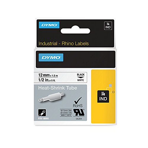 Dymo S0718300 (18055) Rhino Heat-Shrink Cable Label Tube 12mm x 1.5m Cassette - Black on White (pc)