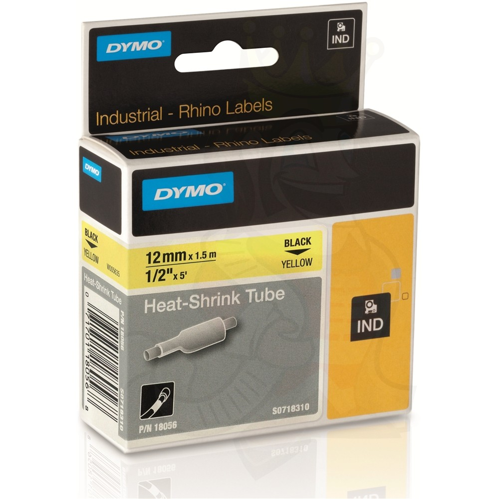 Dymo S0718310 (18056) Rhino Heat-Shrink Cable Label Tube 12mm x 1.5m Cassette - Black on Yellow (pc)