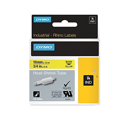 Dymo S0718340 (18058) Rhino Heat-Shrink Tube 19mm x 1.5m - Black on Yellow (pc)