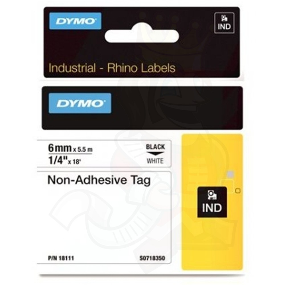 Dymo Rhino S0718350 (18111) Industrial Non-Adhesive Tag 6 mm x 5.5 m - Black on White (pc)