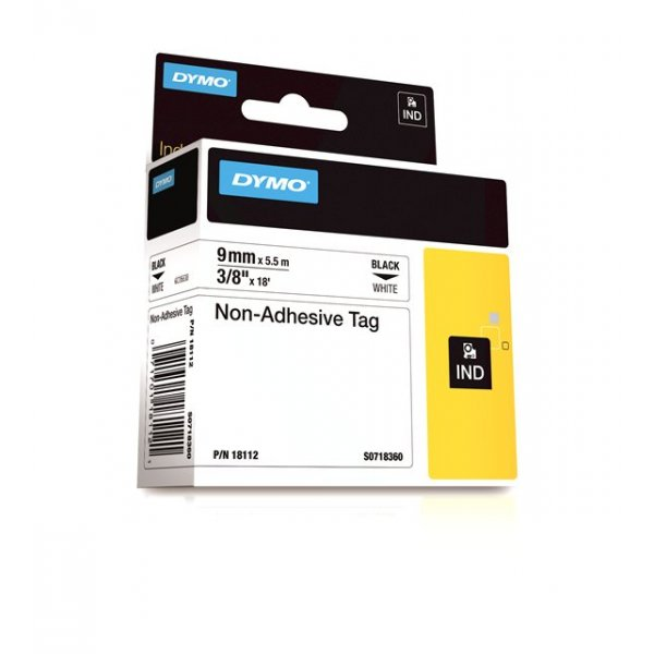 Dymo Rhino S0718360 (18112) Non-Adhesive Tag 9mm x 5.5m - Black on White (pc)