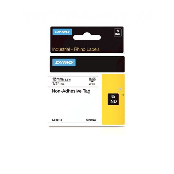 Dymo Rhino S0718380 (18113) Industrial Non-Adhesive Tag 12mm x 5.5m - Black on White (pc)