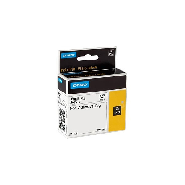 Dymo Rhino S0718390 (18114) Non-Adhesive Tag 19mm x 5.5m - Black on White (pc)