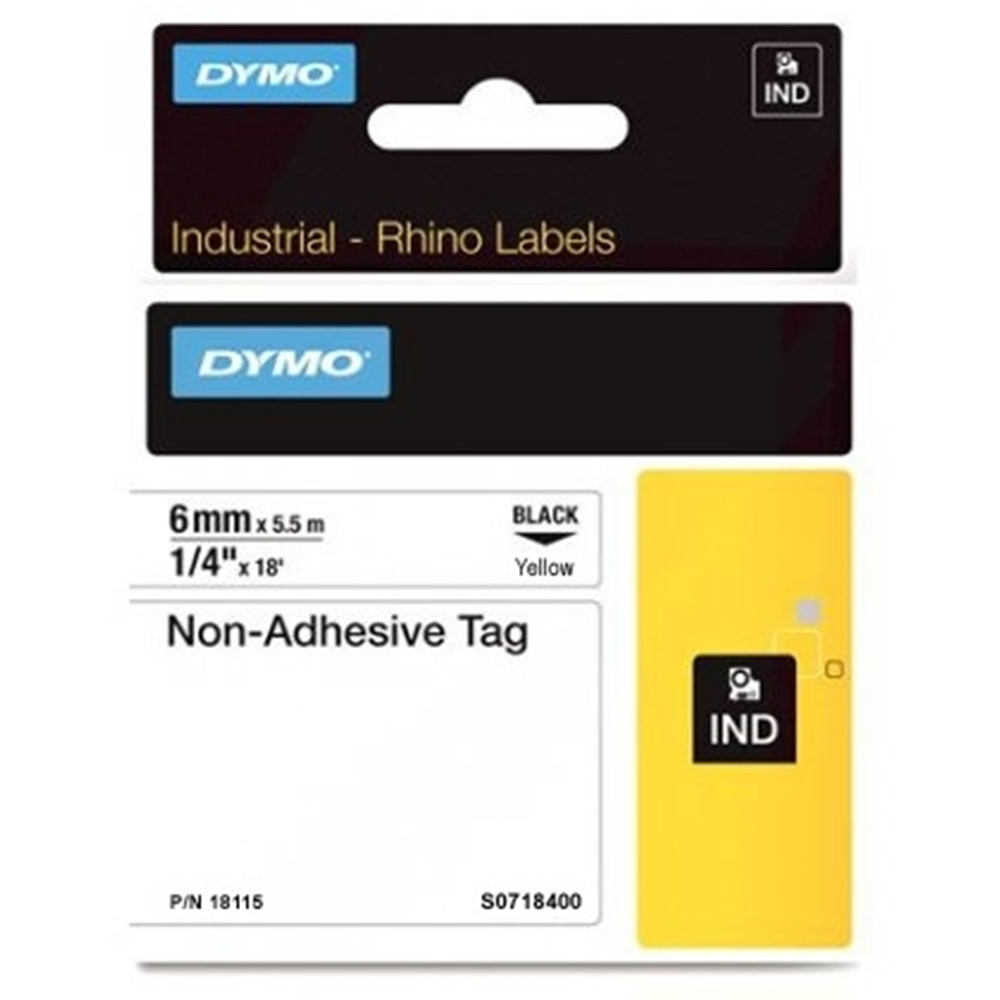 Dymo Rhino S0718400 (18115) Industrial Non-Adhesive Tag 6mm x 5.5m - Black on Yellow (pc)