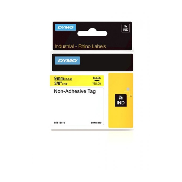 Dymo Rhino S0718410 (18116) Non-Adhesive Tag 9mm x 5.5m - Black on Yellow (pc)