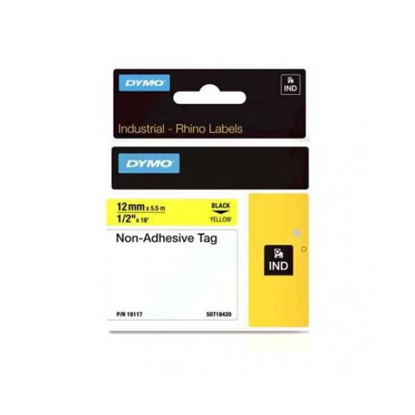 Dymo Rhino S0718420 (18117) Industrial Non-Adhesive Tag 12mm x 5.5m - Black on Yellow (pc)