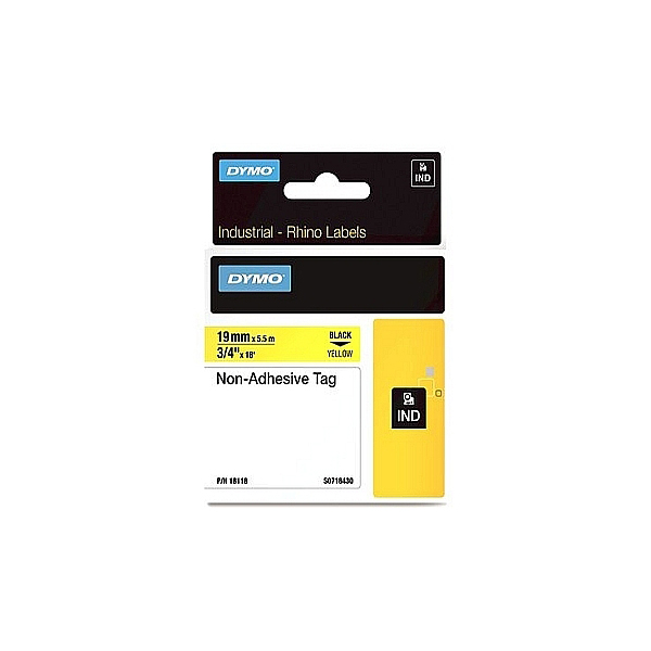 Dymo Rhino S0718430 (181180) Non-Adhesive Tag 19mm x 5.5m - Black on Yellow (pc)