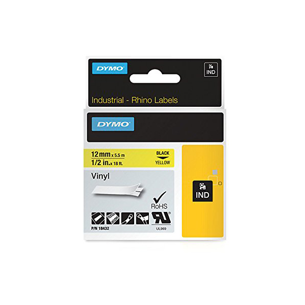 Dymo Rhino S0718450 (18432) Vinyl Label Tape 12mm x 5.5m - Black on Yellow (pc)