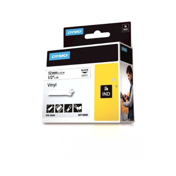 Dymo Rhino S0718600 (18444) Vinyl Label Tape 12mm x 5.5m - Black on White (pc)