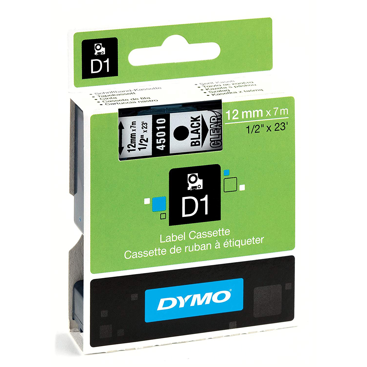 Dymo S0720500 (45010) D1 Standard Label Tape 12mm x 7m - Black on Transparent (pc)
