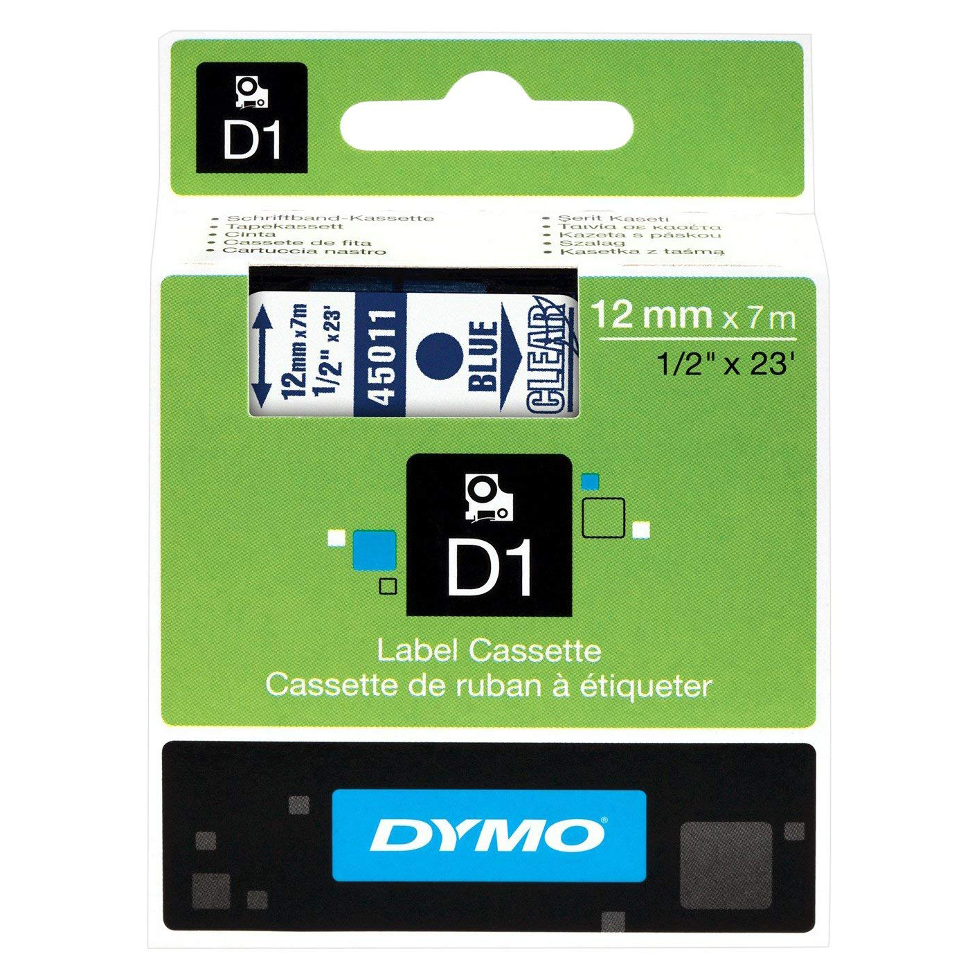 Dymo S0720510 (45011) D1 Standard Self-Adhesive Label Tape 12mm x 7m - Blue on Transparent (pc)