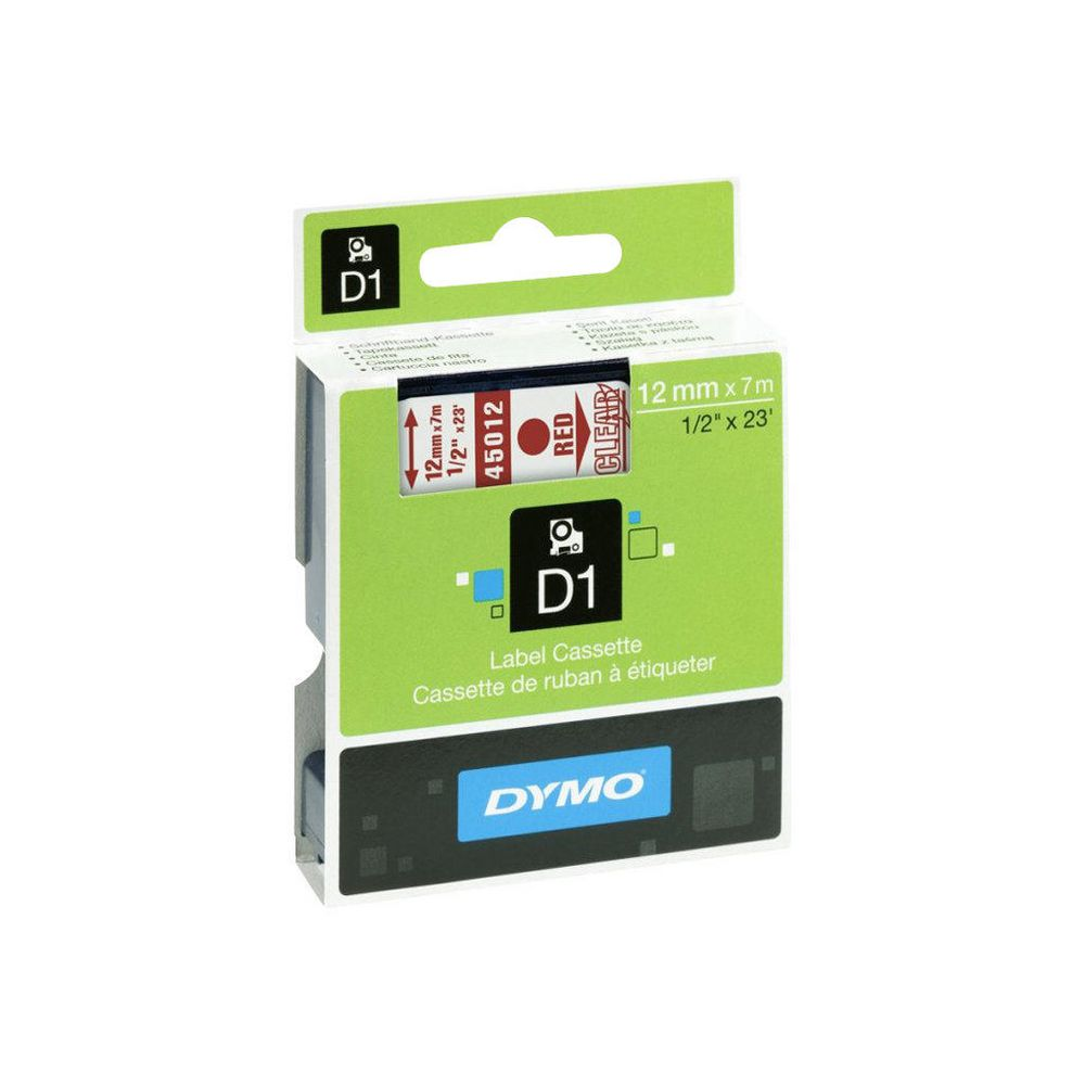 Dymo S0720520 (45012) D1 Label Tape 12mm x 7m - Red on Clear (pc)