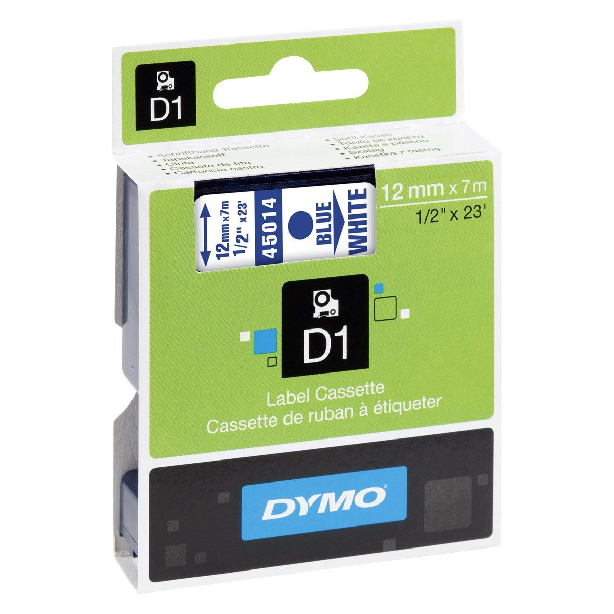 Dymo S0720540 (45014) D1 Standard Self-Adhesive Label Tape 12mm x 7m - Blue on White (pc)