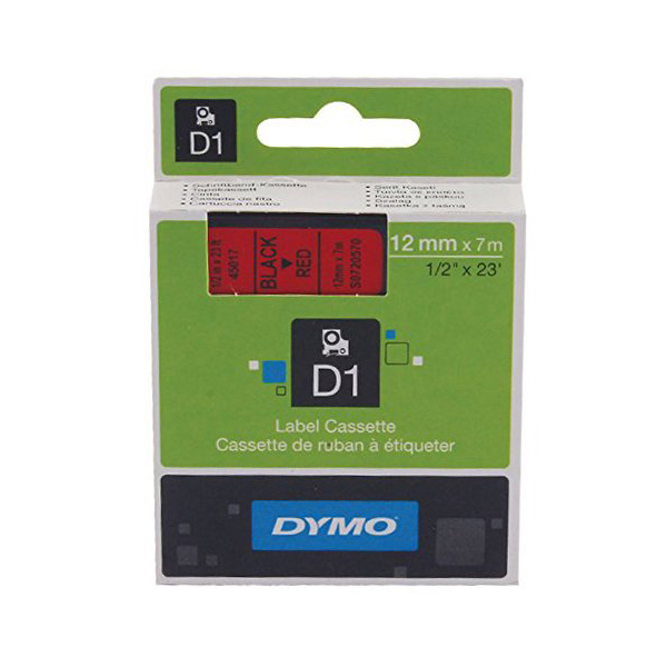 Dymo S0720570 (45017) D1 Standard Self-Adhesive Label Tape 12mm x 7m - Black on Red (pc)