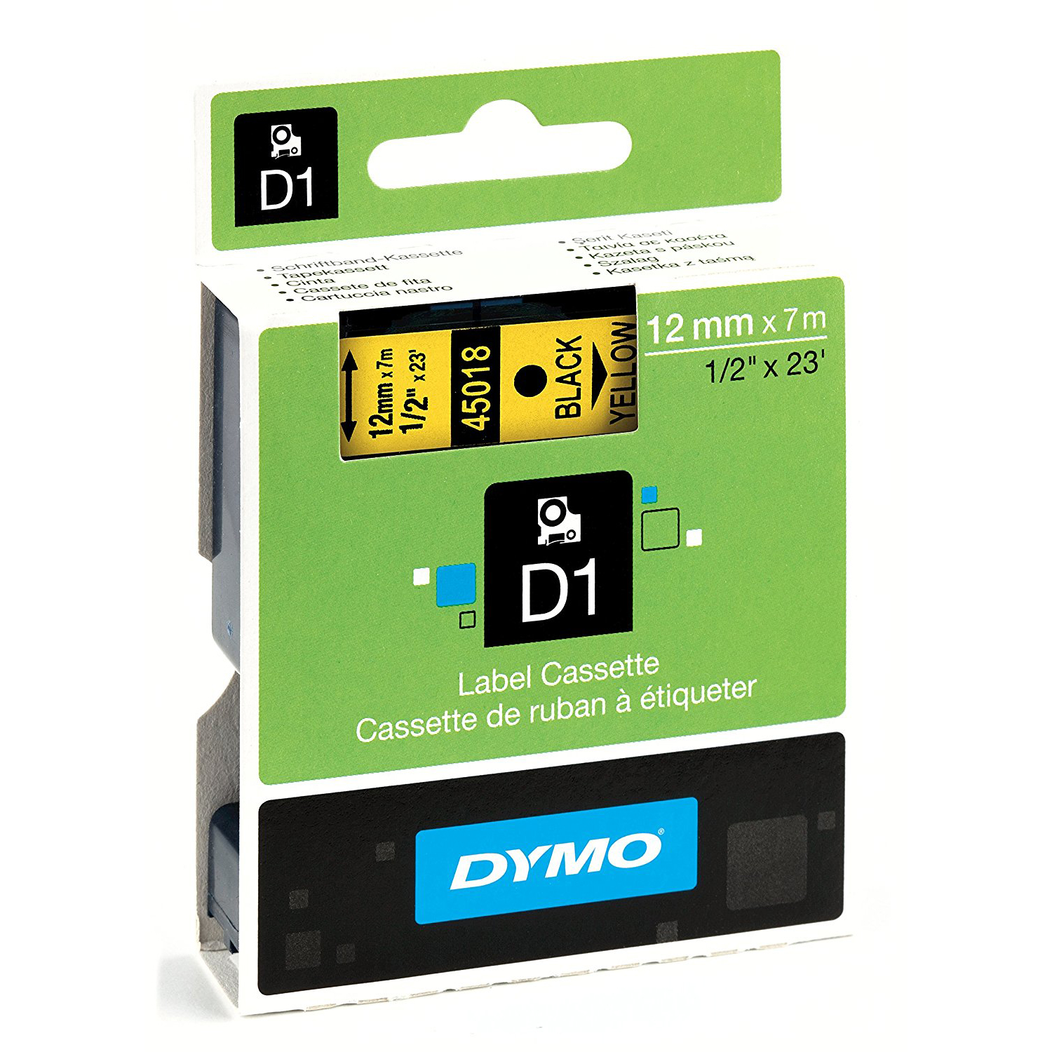 Dymo S0720580 (45018) D1 Standard Self-Adhesive Label Tape 12mm x 7m - Black on Yellow (pc)