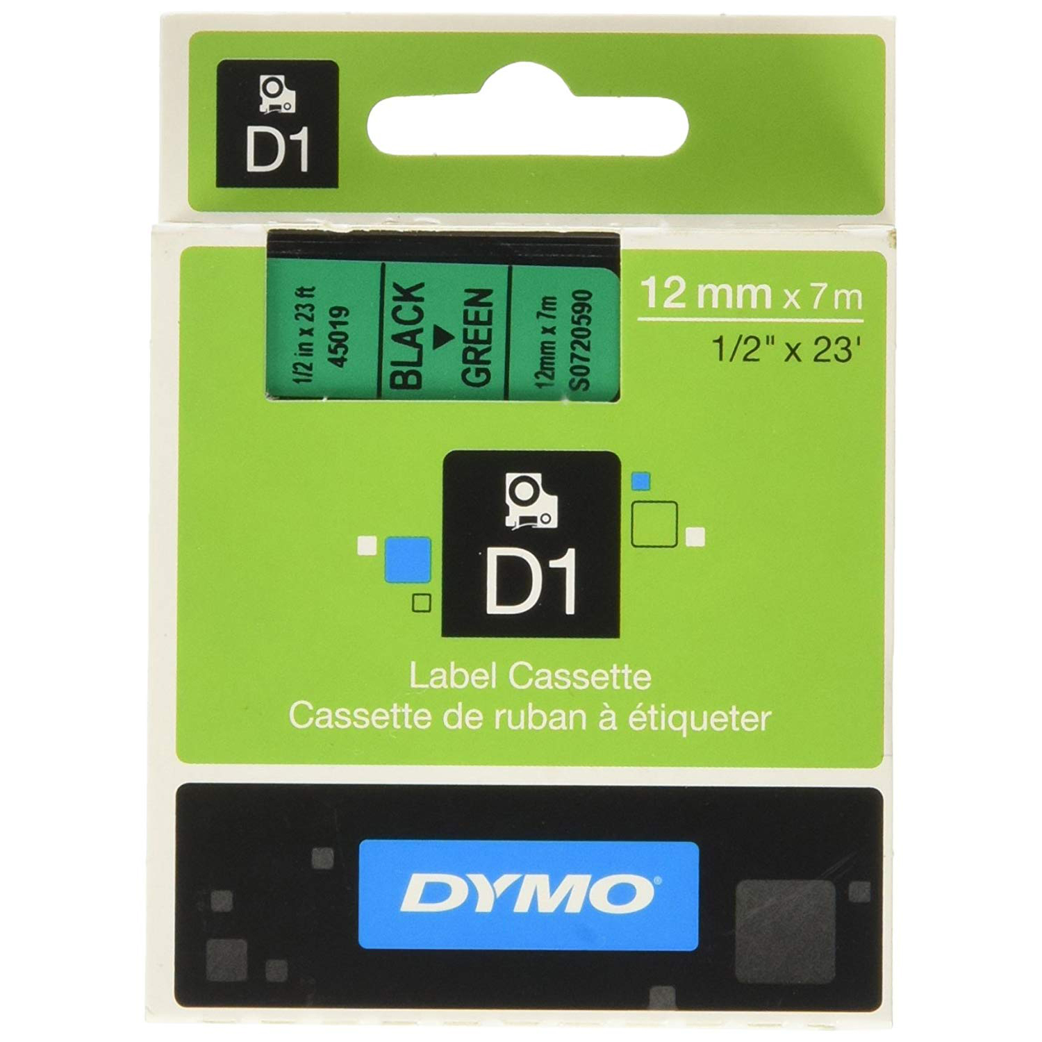 Dymo S0720590 (45019) D1 Label Tape 12mm x 7m - Black on Green (pc)